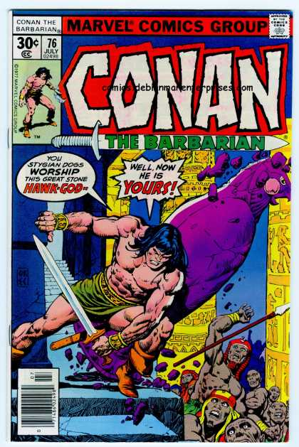 Conan the Barbarian 76 - Conan The Barbarian - Hawk God - Marvel Comics - July 76 - Crumbling Temple - Ernie Chan