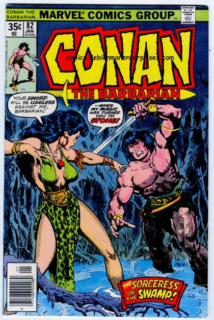 Conan the Barbarian 82 - Sword - Marvel Comics Group - Approved By The Comics Code - Woman - Sorceress Of The Swamp - Ernie Chan, John Buscema