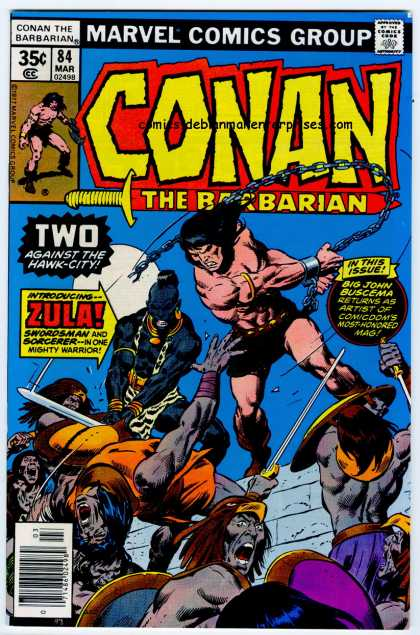 Conan the Barbarian 84 - Zula - Hawk City - Chain - Sword - Marvel - Ernie Chan, John Buscema