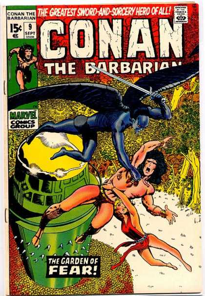Conan the Barbarian 9 - Sword And Sorcery - The Garden Of Fear - Battle In Air - Winged Swordman - Forest - Barry Windsor-Smith