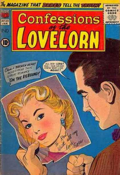 Confessions of the Lovelorn 101 - On The Rebound - Picture - Brown Haired Man - The Magazine That Dares Tell The Truth - Fist