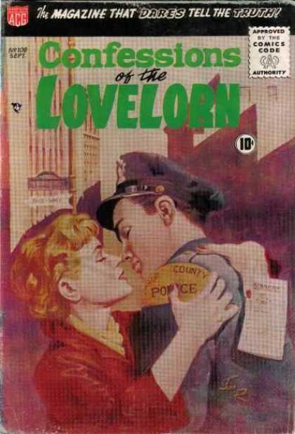 Confessions of the Lovelorn 108 - Kissing - Police - Man - Woman - Ticket
