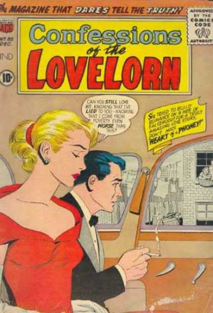 Confessions of the Lovelorn 88 - Smoking - Blonde - Comics Code - Car - Red Dress