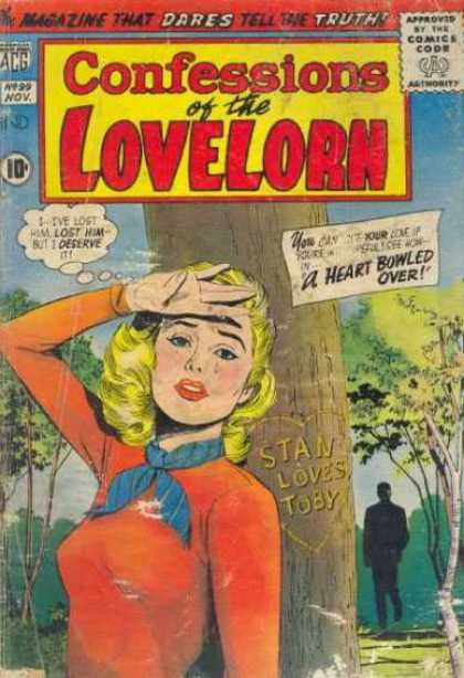 Confessions of the Lovelorn 99 - Woman - Tree - Carving - Stan Loves Toby - A Heart Bowled Over