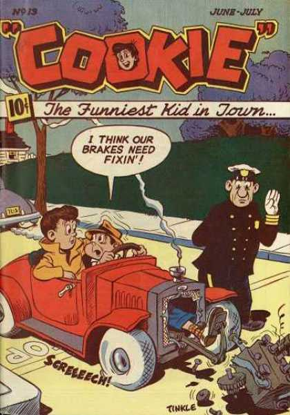 Cookie 13 - The Funniest Kid In Town - Policeman - Red Car - Sidewalk - Purple Trees