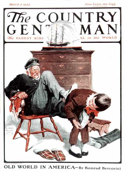 Country Gentleman - 1925-03-07: Removing Sailor's Boots (WM. Meade Prince)