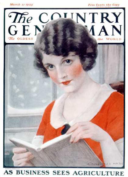 Country Gentleman - 1925-03-21: Woman Reading Book (J. Knowles Hare)