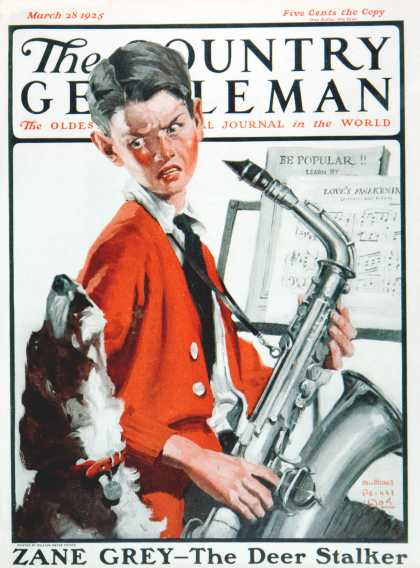 Country Gentleman - 1925-03-28: Dog Doesn't Like Sax Sounds (WM. Meade Prince)