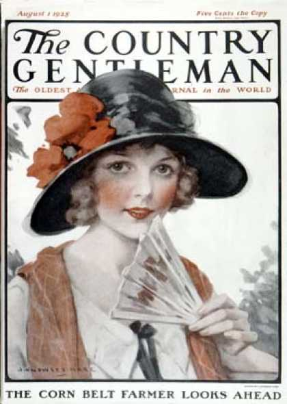 Country Gentleman - 1925-08-01: Woman with Fan (J. Knowles Hare)