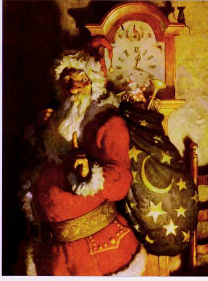 Country Gentleman - 1925-11-01: Santa With Sack of Toys (N.C. Wyeth)