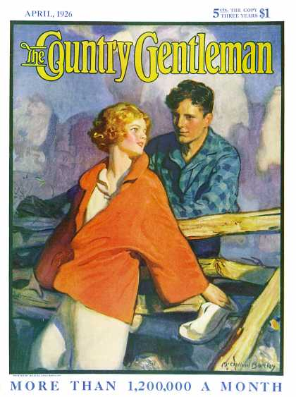 Country Gentleman - 1926-04-01: Meeting by the Fence (McClelland Barclay)