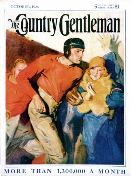 Country Gentleman - 1926-10-01: Football Player and Fan (McClelland Barclay)