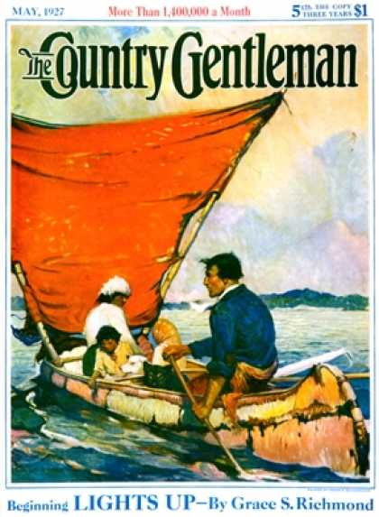 Country Gentleman - 1927-05-01: Family in Canoe (Frank E. Schoonover)