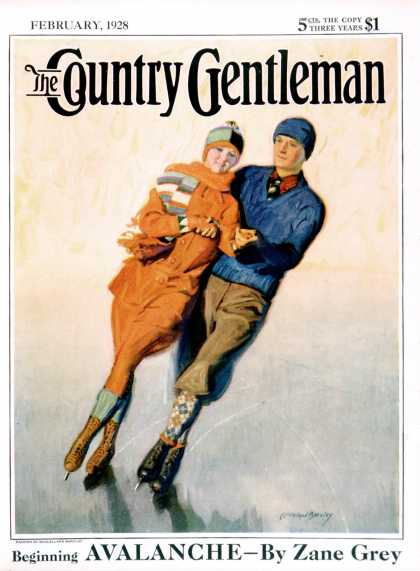Country Gentleman - 1928-02-01: Skating Couple (McClelland Barclay)