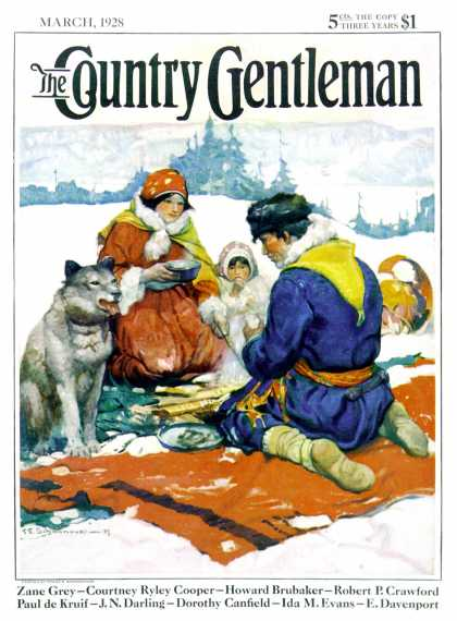 Country Gentleman - 1928-03-01: Eskimo Family Meal (Frank E. Schoonover)