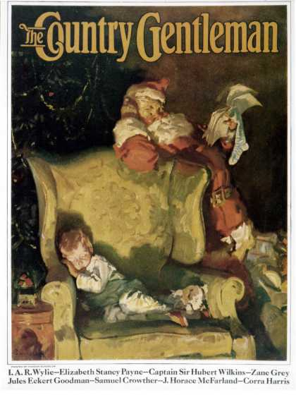 Country Gentleman - 1928-12-01: Sleeping Through Santa's Visit (Haddon Sundblom)