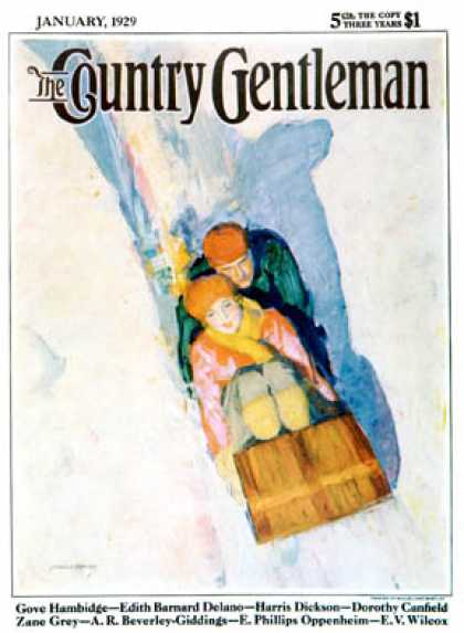 Country Gentleman - 1929-01-01: Couple on Toboggan (McClelland Barclay)