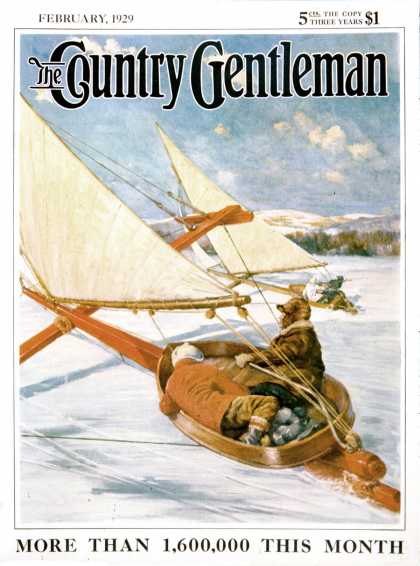 Country Gentleman - 1929-02-01: Ice Boating (Anton Otto Fischer)