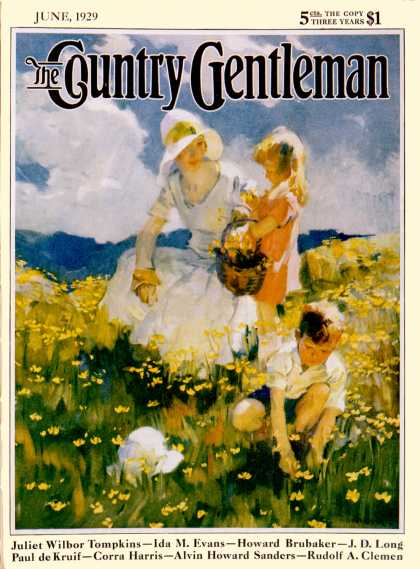 Country Gentleman - 1929-06-01: Family in Field of Buttercups (Haddon Sundblom)