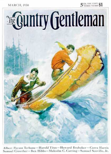 Country Gentleman - 1930-03-01: Canoeing Through Rapids (Frank E. Schoonover)
