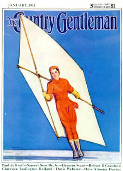 Country Gentleman - 1931-01-01: Ice-Skating Under Sail (McClelland Barclay)