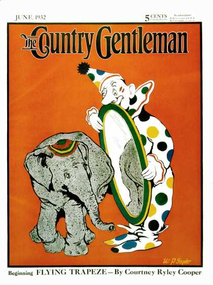 Country Gentleman - 1932-06-01: Clown & Elephant (W.P. Snyder)