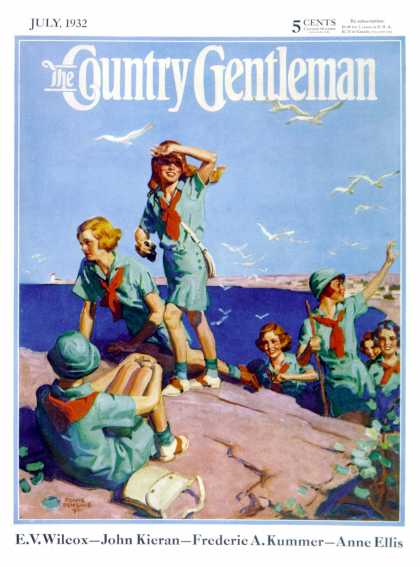 Country Gentleman - 1932-07-01: Girl Scouts at Sea Shore (Frank Bensing)