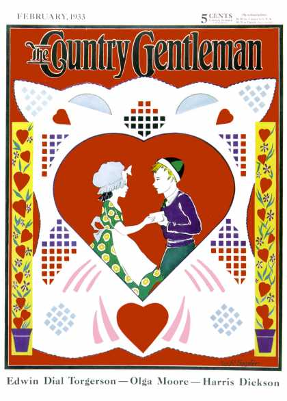 Country Gentleman - 1933-02-01: Valentine Couple Cut-out (W.P. Snyder)