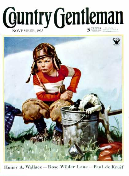 Country Gentleman - 1933-11-01: Water Boy and Dog (Henry Hintermeister)