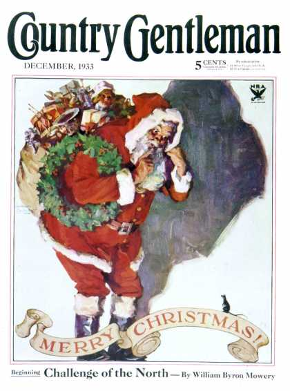 Country Gentleman - 1933-12-01: Santa and Christmas Mouse (WM. Meade Prince)