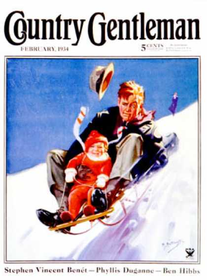 Country Gentleman - 1934-02-01: Father & Child on Sled (Henry Hintermeister)