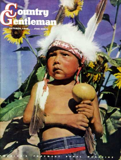 Country Gentleman - 1943-10-01: Indian Boy and Gourd (Salvadore Pinto)
