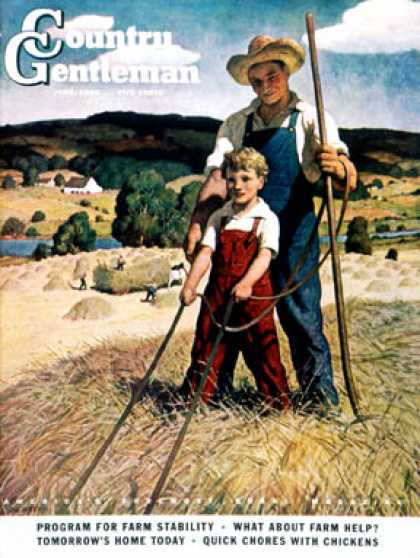 Country Gentleman - 1944-06-01: Father and Son on Hay Wagon (N.C. Wyeth)