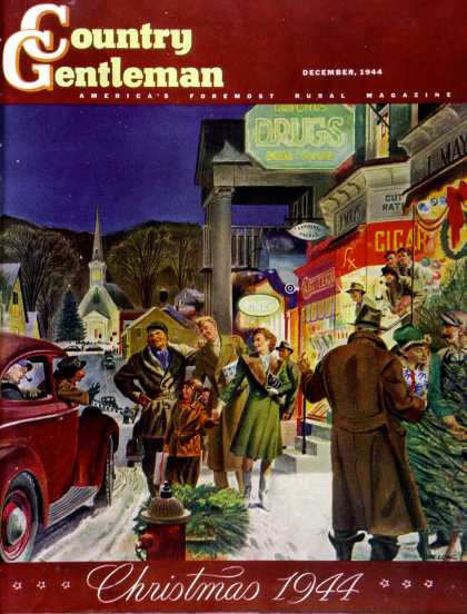 Country Gentleman - 1944-12-01: Main Street at Christmas (Peter Helck)