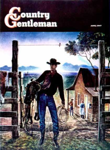 Country Gentleman - 1947-06-01: Cowboy at End of the Day (Peter Hurd)