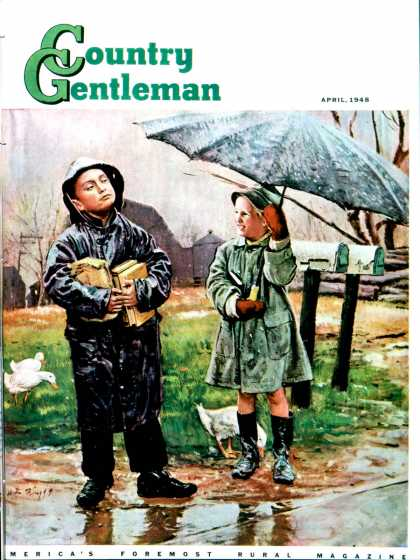 Country Gentleman - 1948-04-01: Waiting for Bus in Rain (Austin Briggs)