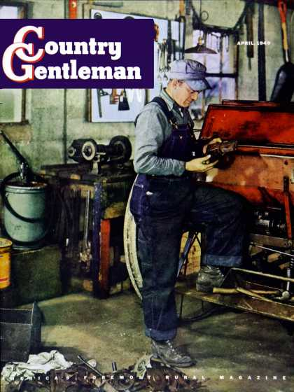 Country Gentleman - 1949-04-01: Farmer in Tool Shed (J.C. Allen)