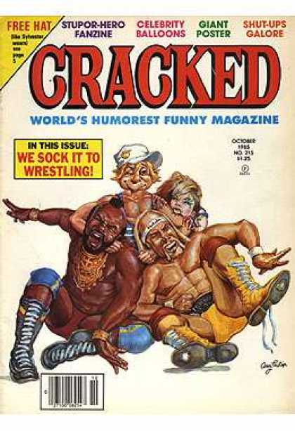 Cracked 215 - Wrestling - Funny Magazine - Free Hat - Giant Poster - October Issue