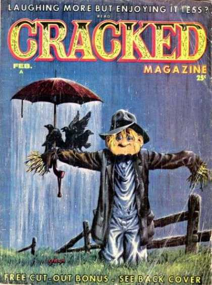 Cracked 27 - Scarecrow - Umbrella - Fence - Rain - Crows