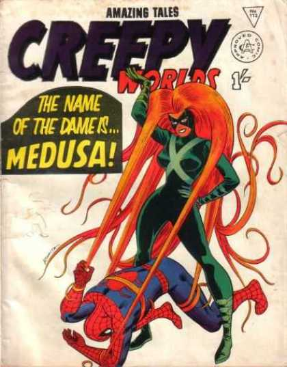 Creepy Worlds 112 - Medusa Versus Spiderman - The Name Of The Dame Is Medusa - She Is A Wonder Woman - Web Slinger - Super Heroes