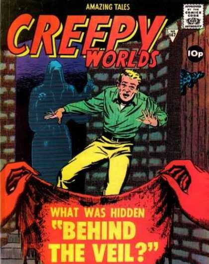 Creepy Worlds 147 - What Was Hidden Behind The Veil - Creepy Worlds - Red Letters And Red Hands - Frightened Man With Death Behind His Back - Eerie