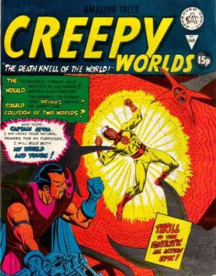 Creepy Worlds 168 - The Death Knell Of The World - Man In Yellow Outfit - Red And Yellow Explosion - Man With Dark Beard - Collision Of Two Worlds