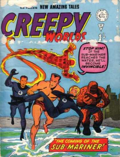 Creepy Worlds 34 - New Amazing Tales - Human Torch - Thing - Invisible Woman - Sub-mariner