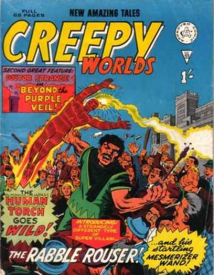 Creepy Worlds 53 - Human Torch - Crowd - City - Rabble Rouser - Wand