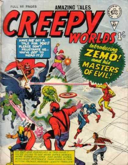 Creepy Worlds 67 - Superman - Light - Fighting - Horse - Introducing Zemo And His Masters Of Evil
