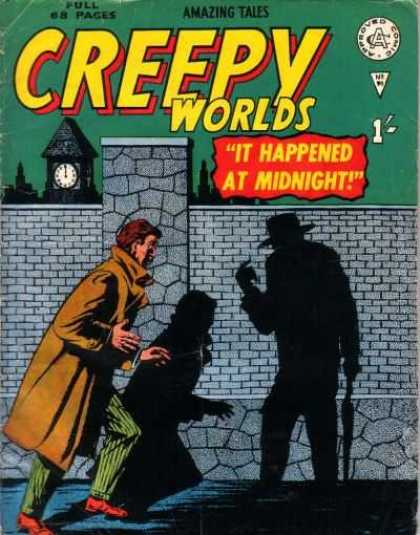 Creepy Worlds 90 - It Happened At Midnight - Clock Tower - Shadows - Wall - Night