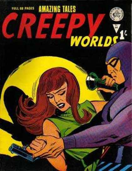 Creepy Worlds 98 - Flashlight - Woman - Gun - Brown Hair - Shadow