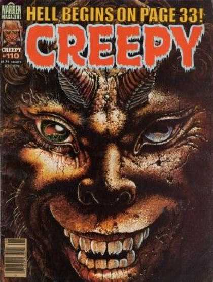 Creepy 110 - Warren Magazine - 110 - Horned Devil - One Green Eye - One Blue Eye
