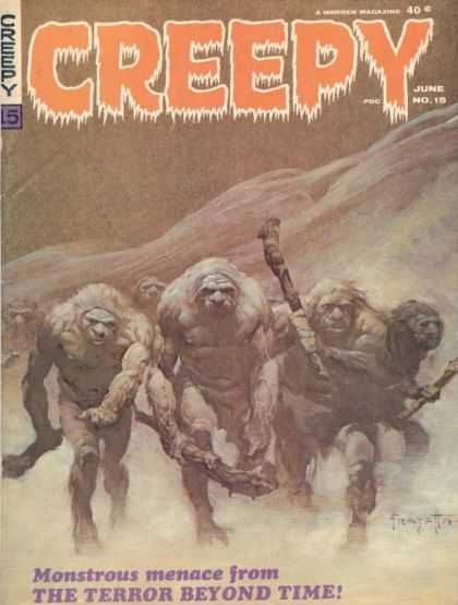 Creepy 15 - Cavemen - Scary - Maces - Hairy - Monstrous Menace From The Terror Beyond Time - Frank Frazetta