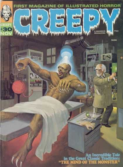 Creepy 30 - Monster - First Magazine Of Illustrated Horror - The Mind Of The Monster - Labratory - Mad Scientist
